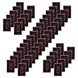GFCI 15A Tamper Resistant Duplex Receptacle Standard Decorative Outlet with LED Indicator, Ground Fault Circuit Interrupter, Decorative Wallplate, Safelock Protection, UL Listed, Brown (50-Pack)