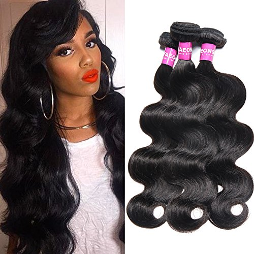 YAEONS 8A Peruvian Hair 3 Bundles Body Wave 100% Unprocessed Virgin Human Hair Weave(14