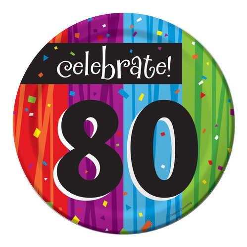 8-Count Round Paper Dessert Plates, Celebrate 80, Milestone Celebrations
