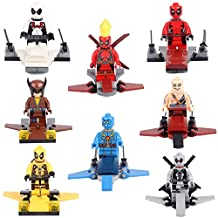 New Hit MiniToy Set of Deadpool and X-FORCE MAN with Aircrafts Minifigures Building Brick Blocks Toy for Children, 8Pcs/Set ABS Plastic Multi-color