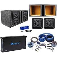 (2) Kicker 44L7S152 15 4000 Watt Solobaric L7S Subwoofers+Amp+Sub Box+Wire Kit