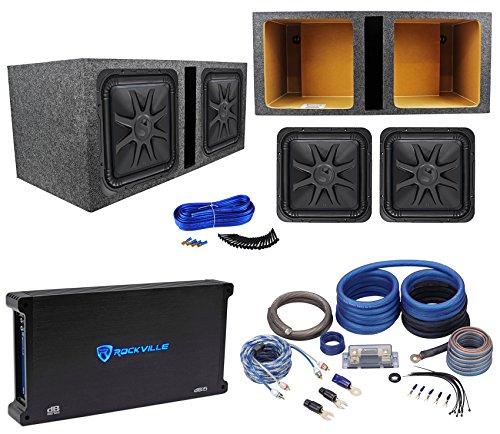 """(2) Kicker 44L7S152 15"""" 4000 Watt Solobaric L7S Subwoofers+Amp+Sub Box+Wire Kit"""