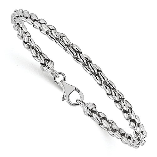 Sterling Silver Polished Braided 7.5inch Bracelet 7.5'' - with Secure Lobster Lock Clasp (121mm) by Sonia Jewels