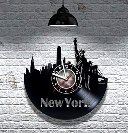 Home Kitchen Wall Clocks Teens Ny Unique Art Design Gifts New York City Vinyl Record Wall Clock Gift Ideas For Friends Men And Women Get Unique Living Room Wall Decor Girls