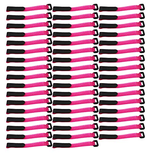 "LGEGE 50 Pcs 8"" pink Reusable Fastening Wrap Strap, loop fastening straps, Hook & Loop Cable Ties for keeping cable, wire and all kinds of cords"