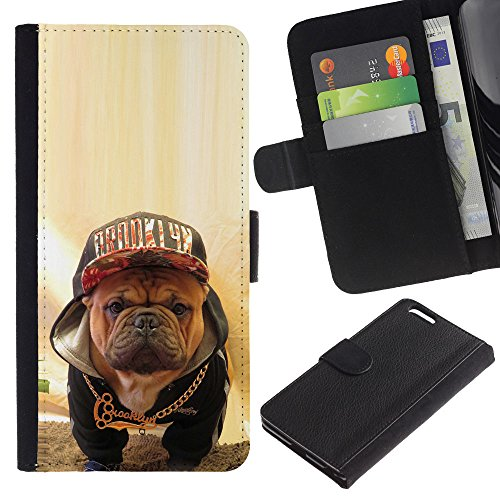 OMEGA Case / Apple Iphone 6 PLUS 5.5 / Boston terrier bull French bulldog dog / Cuir PU Portefeuille Coverture Shell Armure Coque Coq Cas Etui Housse Case Cover Wallet Credit Card