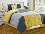 7-Pc Patchwork Quatrefoil Trellis Pleated Striped Comforter Set Queen Yellow Gray Silver Beige