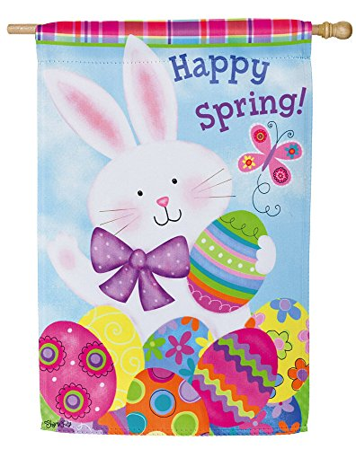 Evergreen Happy Spring Easter Bunny Suede House Flag, 29 x 4