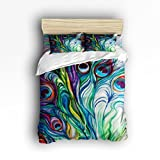 Libaoge 4 Piece Bed Sheets Set, Flawless Peacock Feathers Print, 1 Flat Sheet 1 Duvet Cover and 2 Pillow Cases