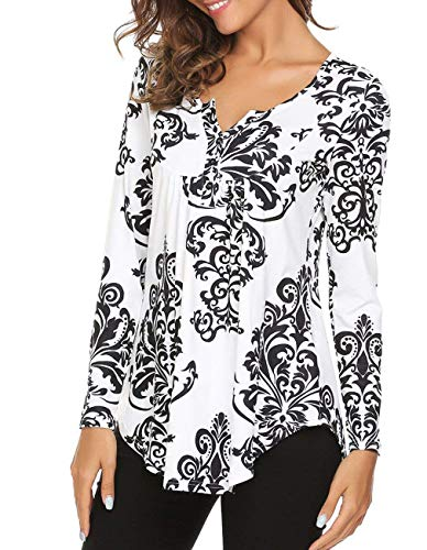 Defal Women Long Sleeve Paisley Floral Button Up Blouse Shirt Casual Henleys Top(Black White,M)