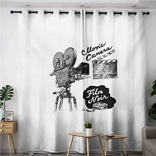 AndyTours Thermal Insulated Blackout Curtains,Movie Theater,Antique Movie Camera Hand Drawn Style Art Collection Film Noir Genre Theme,Room Darkening, Noise Reducing,W120x72L,Black White ()