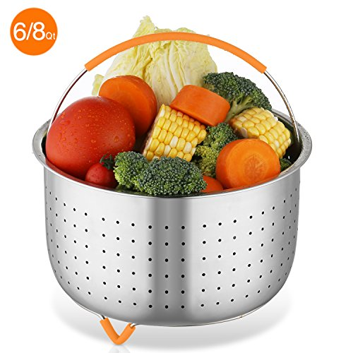 - Steamer Basket,6 or 8 Qt Instant Pot Accessories for Pressure Cookers and Pots,Stainless Steel Steamer Insert with Silicone Handle and Non-Slip Legs,Great for Vegetables,Fruits,Eggs,Meats,etc