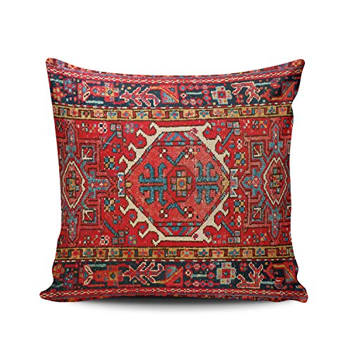 WULIHUA Decorative Throw Pillow Covers Red Oriental Turkish Aztec Ethnic Fine Zipper Pillowcases Throw Pillow Cushion Covers for Sofa Double Sides Printed Square 16x16 Inches