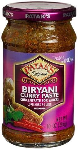 Patak's Biryani Curry Paste, Medium, 10-Ounce Glass Glass Jars (Pack of 6) - Patak Curry Paste