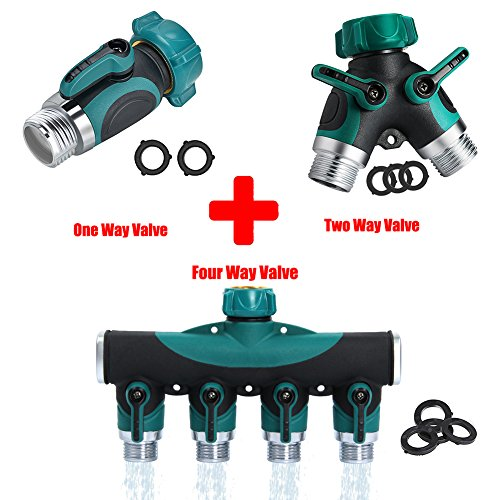 Kricson Garden Hose Shut Off Valve Y Connector Heavy Duty Hose Splitter 1Way + 2 Way + 4 Way Faucet Extension Brass Replacement with Hose Washers (Hose Manifold Faucet)