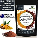 95% Curcumin Turmeric Extract Powder Natural Pure Supplement, Vegan, Organic, Water Soluble, Non-GMO, Gluten Free, Extra Strength, Antioxidants, Cocoa Flavour, Piperine, 13.23oz -  Nutra Nourished