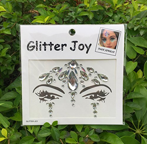 DaLin Face Gems Rave Festival Jewels Crystals Bindi Rainbow Tears Rhinestone Temporary Tattoo Face Rocks SFA001 (White)
