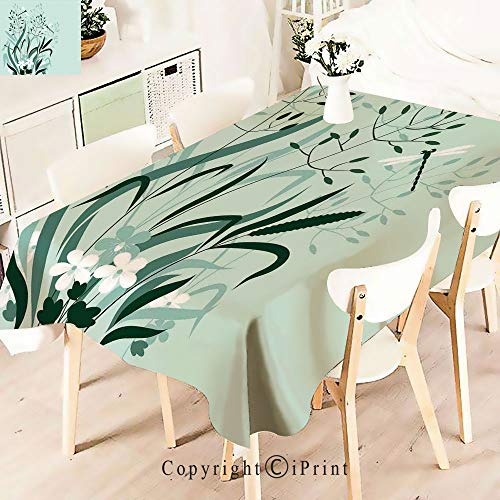 Polyester Water Resistant Tablecloth and Dragonflies in Exquisitely Growing Lawnfor Vintage Washable Table Cloth Dinner Kitchen Home Decor,W55 xL83,Light Green
