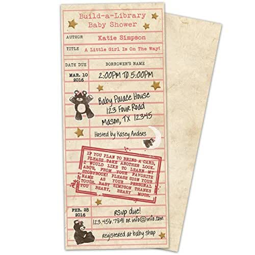 Amazon library card girl baby shower invitations build a party print express filmwisefo
