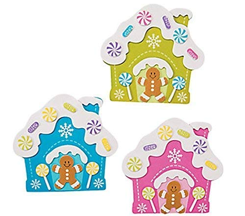 Bright Gingerbread House Magnet Christmas Craft Kits - Pack of 12 - Gingerbread Crafts For Kids