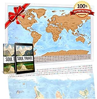 Amazoncom Scratch Off World Map Poster With Detailed US States - Amazon us map