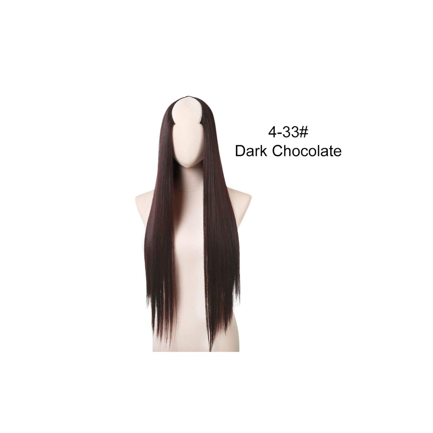 24'' 170G U-Part Clip In Hair Extension Straight & Wavy One Piece Full Head Long Natural False Synthetic Hairpieces,Dark Chocolate,24Inches by H-yang hair extensions