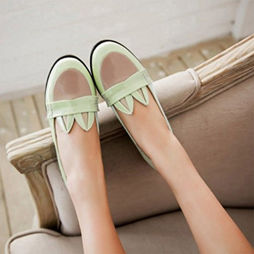 CHFSO Womens Cute Ears Hollow Out Antiskid Flats Slip On Pumps Shoes Green zzvQv