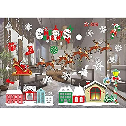 Colorful Christmas Background For Kids.Stickers Christmas 2pcs Set Creative Removable Window