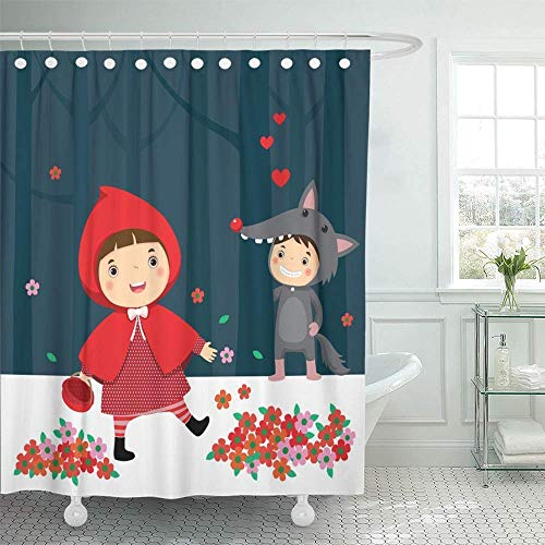 Hnmtown Decorative Shower Curtain Costume of Little Red Riding Hood and Gray Wolf Fable Kids Alone Animal Basket Boy 72