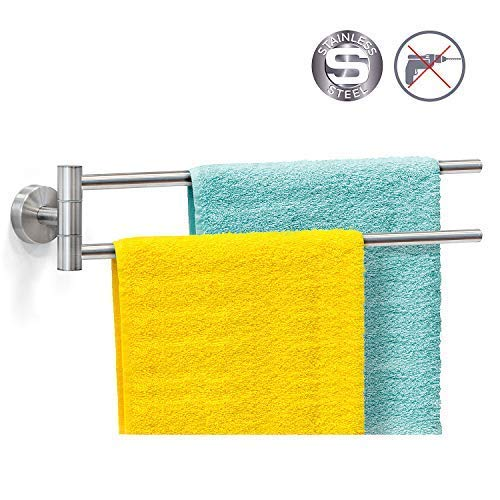 Wonder Worker Larry Swivel 2-Arm Towel Rack Silicone Glue Strong Fixation up to 25 kg 18.6 X 3.7 X - Two Arm Rail Towel