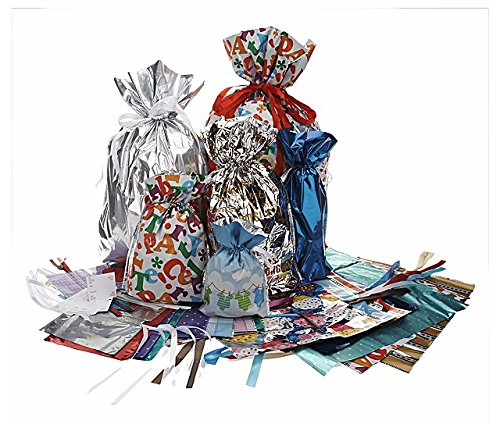 56 Piece Gift Bag Set with Inserted Drawstring Ribbons