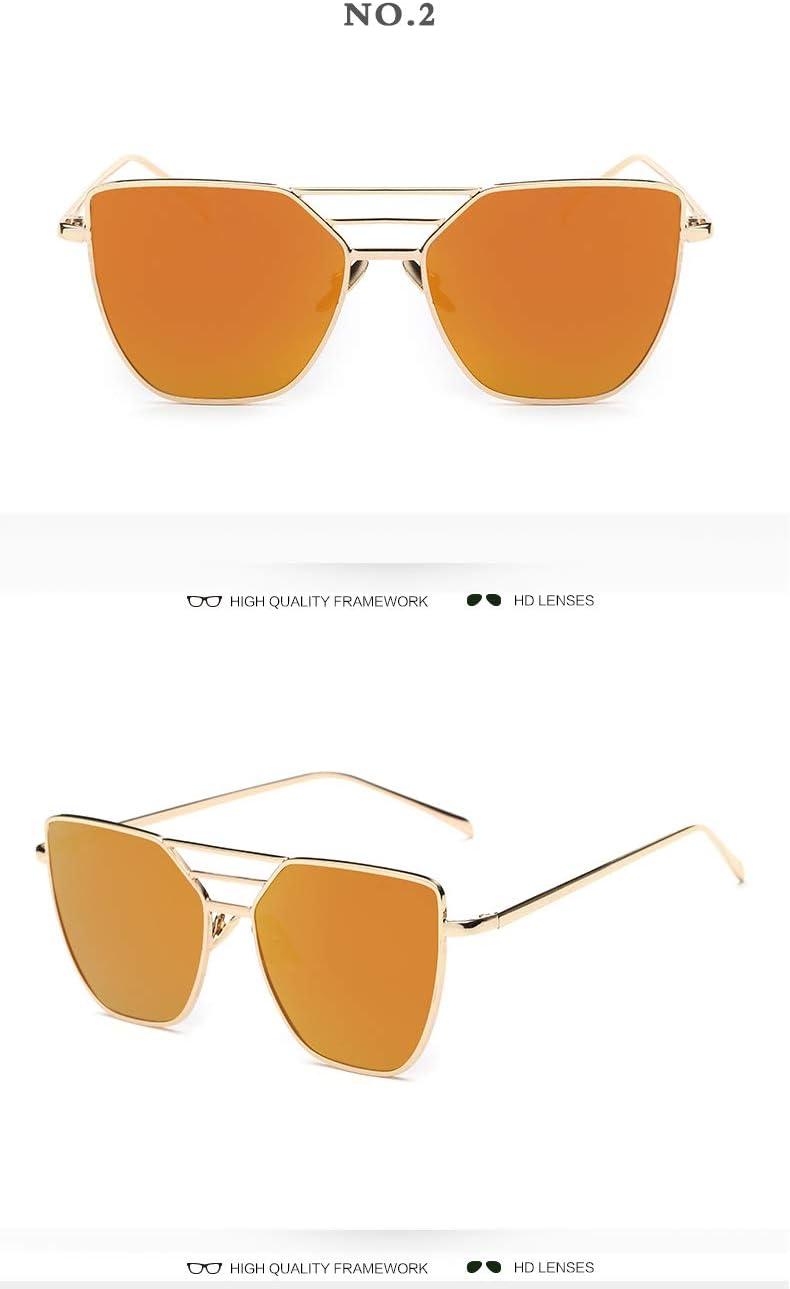 PGFMVP Occhiali da Sole Moda Donna Occhiali da Sole Retro Rivestimento Specchietto Occhiali Quadrato Anti-Riflettente Gradiente Fotocromia Occhiali da Sole Uv400 Orange
