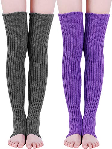 Sumind 2 Paar 27,5 Zoll Lange Gestrickte Beinlinge über Knie Winter Beinlinge Hohe Fußlose Kniestrümpfe für Frauen und Mädchen