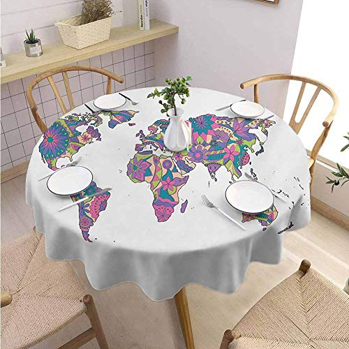 Halloween Restaurant Specials Las Vegas (VICWOWONE Multifunctional Round Tablecloth Wanderlust Restaurant Decoration Colorful World Map with Flowers Blossoms Floral Art Educational,Round - 70 inch Purple Fuchsia Lime)