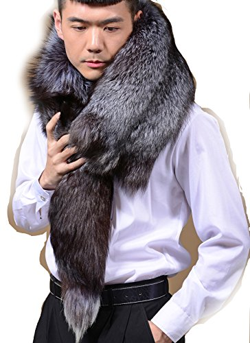 - Chunxiao Men's Winter Real Whole Skin Fox Fur Scarf Warm Blue Fox Fur Cape