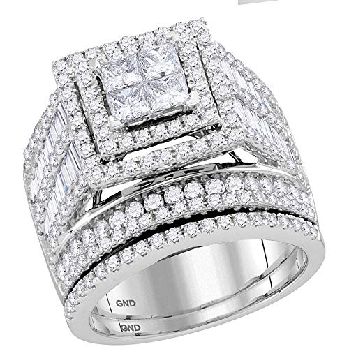 (Jewels By Lux 14kt White Gold Womens Princess Diamond Bridal Wedding Engagement Ring Band Set 3.00 Cttw In Invisible Setting (I1-I2 clarity; H-I color))