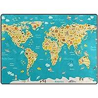 U LIFE Animal World Map Large Area Rug Runner Floor Mat Carpet for Kids Classroom Entrance Way Doorway Living Room Bedroom 63 x 48 & 80 x 58 Inch 5.3 x 4 & 6.6 x 4.8 Feet