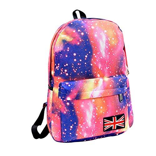 Minetom Lona Backpack Mochilas Escolares Mochila Escolar Casual Bolsa Viaje Moda Estrellas Nebulosa Universo Mujer Rojo