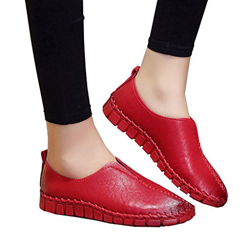 Lieve Tijd Womens Casual Flats Rijden Mocassins Loafers Slip Bootschoenen Rood
