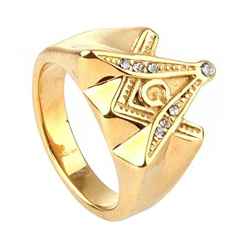 Oakky Jewelry Mens Stainless Steel Freemason Masonic Rings Cubic Zirconia Inlay Vintage Gold Size - Men Masonic Mason Ring