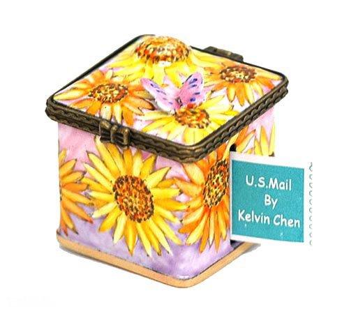 (Kelvin Chen Enameled Postage Stamp Holder - Sunflowers)
