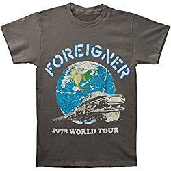 Foreigner Men's 1978 World Tour Slim Fit T-shirt XX-Large Grey