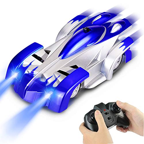 Lynee Remote Control Car,Rechargeable Wall Climber Car with Dual Mode 360° Rotating Stunt Car, RC Racing Cars for Kids and Adults(Blue)