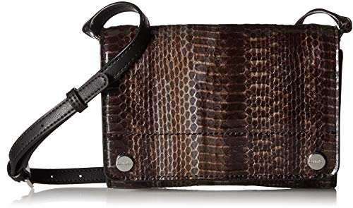 (Calvin Klein womens Calvin Klein Flap Patent Python Studded Flap Over Small Crossbody, dark taupe, One Size)