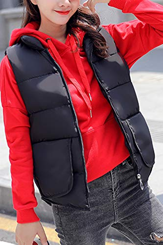 Black Puffer Coat Up Zip Down Packable Women Casual Vest Lightweight Jacket Suvotimo zn7Pfpxqwx