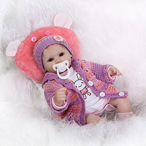 """Funny House Lovely 17"""" 42cm Life Like Realistic Looking Soft Silicone Vinyl Baby Girl Doll Reborn Dolls Cotton Stuffed Body Magnetic Mouth Free Dummy"""