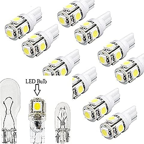 10LED Replacements Lights 5 Led/smd Per Bulb 194 T10 T5 Wedge Base Cool White 12v Dc 1407ww (Stair Wedge)