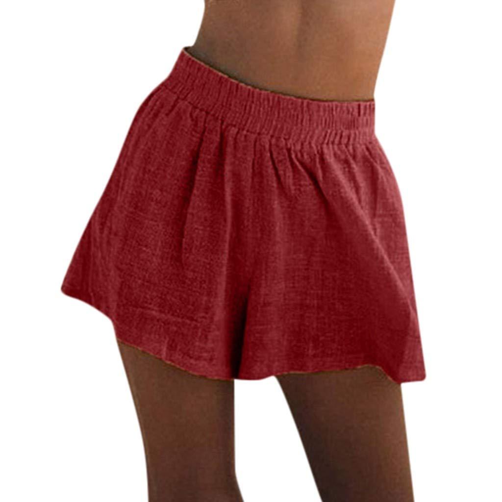 J-paty Women's Shorts, Elastic Waist High Waist Pants Comfy Cotton Linen Pants Solid Loose Bermuda Shorts Pyjama Beachwer Red