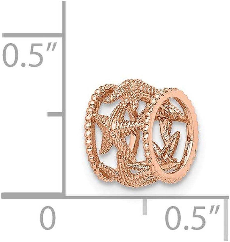 14K Rose Polished Starfish Slide
