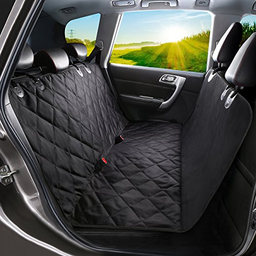 WINSEE Dog Seat Covers, Pet Car Seat Cover with Nonslip Backing, Hammock Convertible Waterproof & Scratch Proof, Machine Washable Backseat Cover for Cars Trucks and SUVs